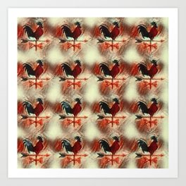 Rooster pattern R4 Art Print
