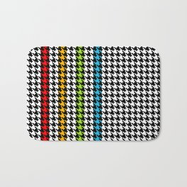 Houndstooth pattern and colorful stripes Bath Mat