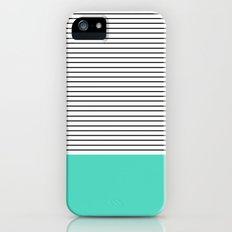MINIMAL Teal Blue Stripes iPhone (5, 5s) Slim Case