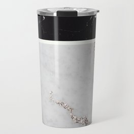 Black Marble & White Glitter Marble #1 #decor #art #society6 Travel Mug