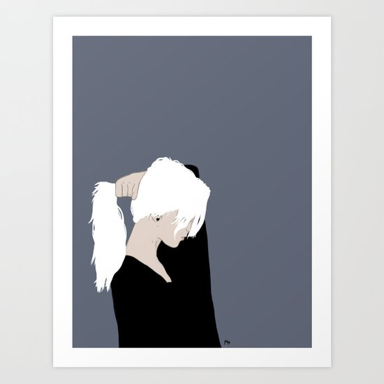 White Hair Beauty Art Print