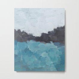 Aqua, Turquoise, Charcoal, Abstract Wall Art Ocean Painting Print, Blue Water, Modern Wall Art Metal Print