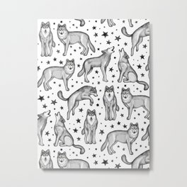 Wolves and Stars on White Metal Print