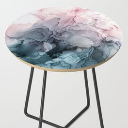 Blush and Payne's Grey Flowing Abstract Painting Side Table
