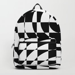Op Art Black and White Abstract Checkered Circles Backpack
