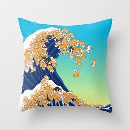 Shiba Inu in Great Wave Throw Pillow