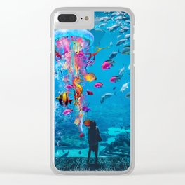 Electric Jellyfish in a Aquarium Clear iPhone Case