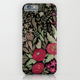 Watercolor . Night garden . iPhone Case