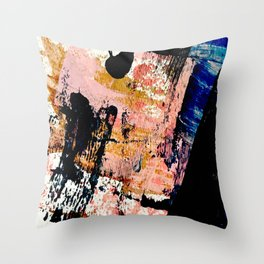 01016 : a bold abstract in pink, orange, blue, and black Throw Pillow