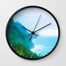 green mountain and ocean view at Kauai, Hawaii, USA Wall Clock