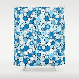 Abstract Blue and White Retro Radical Circle Pattern Shower Curtain