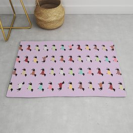 Dachshund Pattern with Purple Sweaters #251 Rug