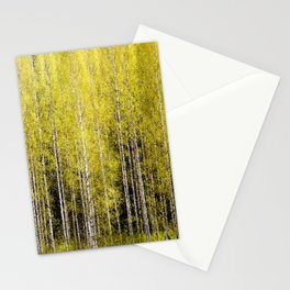 Lovely spring atmosphere - vibrant green leaves on the trees - beautiful birch grove Stationery Cards