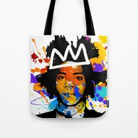 basquiat Tote Bags featuring BASQUIAT by SebinLondon