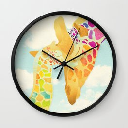 Shanti Sparrow: Harriet & Henry the Giraffes Wall Clock