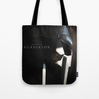 gladiator Tote Bags featuring Gladiator Movie Poster Style A - The Helmet of Maximus by tanman1