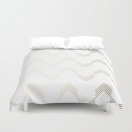 Simply Deconstructed Chevron White Gold Sands on White Duvet Cover