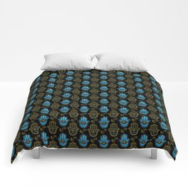 Hamsa Hand pattern - Gold and Blue glass Comforters