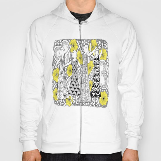 Zentangle Girls - Black and White Illustration Hoody