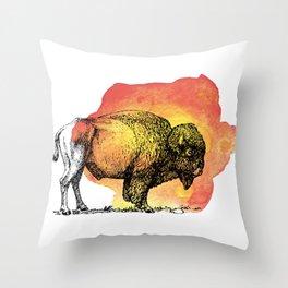 American Bison on Sunset Orange Watercolor Throw Pillow