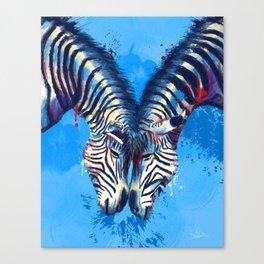 Friendship - Zebra portraits Canvas Print