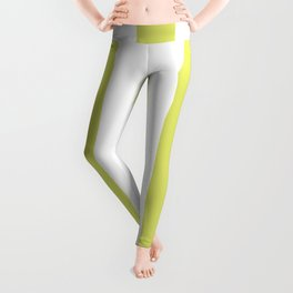 Bored accent green -  solid color - white vertical lines pattern Leggings