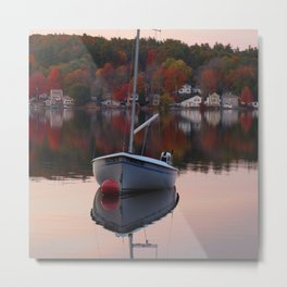 Sail Boat In Fall Metal Print