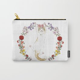 Fuku the Cat in Floral Wreath Carry-All Pouch