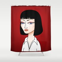 tarantino Shower Curtains featuring Mia Wallace by Pendientera