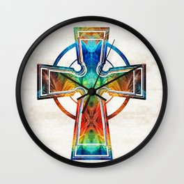 Colorful Celtic Cross by Sharon Cummings Wall Clock