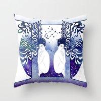 gemini Throw Pillows featuring Gemini by Stevyn Llewellyn