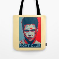 tyler spangler Tote Bags featuring Tyler Durden by Jason Vaughan