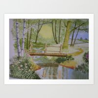 woodland bridge Art Print