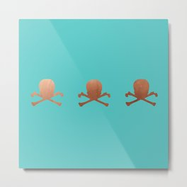 Tri Rose Gold skull Metal Print
