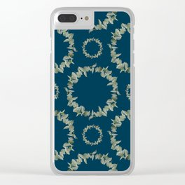 Eucalyptus Patterns with Navy Blue Background Realistic Botanic Patterns Organic & Geometric Pattern Clear iPhone Case