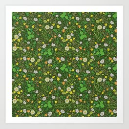 Yellow buttercup and daisies with wild strawberries on grass Art Print