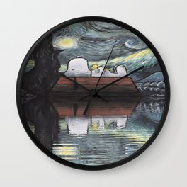 snoopy stary night Wall Clock