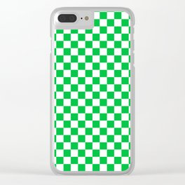 Small Checkered - White and Dark Pastel Green Clear iPhone Case