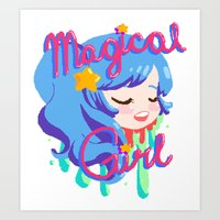 magical girl Art Prints featuring Magical Girl by Ferret Party
