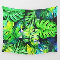 plant Wall Tapestries featuring tropical plant by Sara Eshak