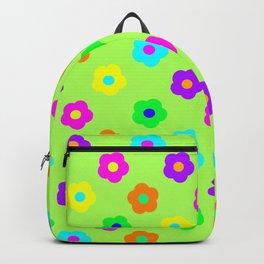 Rainbow Flowers - Green Backpack