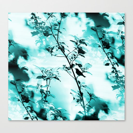 Silhouette of songbird on a branch in turquoise variation  Canvas Print