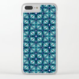 Teal Tiles Clear iPhone Case