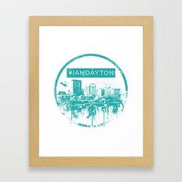 I Am Dayton - City Splatter - Green Framed Art Print