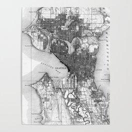 Vintage Map of Seattle Washington (1908) BW Poster