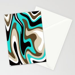 Mid Century Modern Liquid Abstract // Turquoise Blue, Khaki Tan, Dark Brown, Black and White Stationery Cards