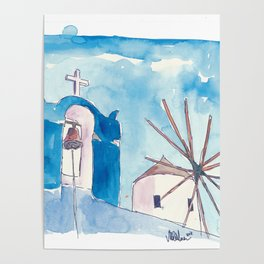 Santorini Oia Greece Windmill and Bell Tower Poster