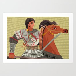 alexander the great mosaic riding a horse Art Print