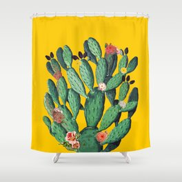 Yellow Flored-Cactus Shower Curtain