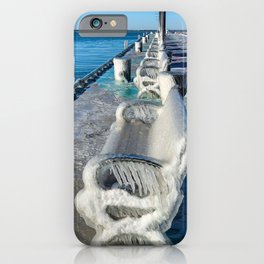 A line of Frozen Benches on Lake Erie iPhone Case